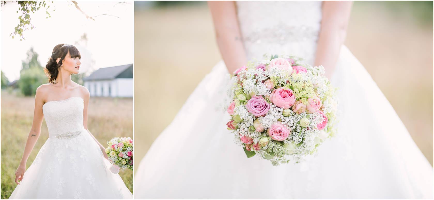 Styled Wedding Shoot Bridal Inspiration DIY und Pastell Brautstrauss und Hochzeitskleid