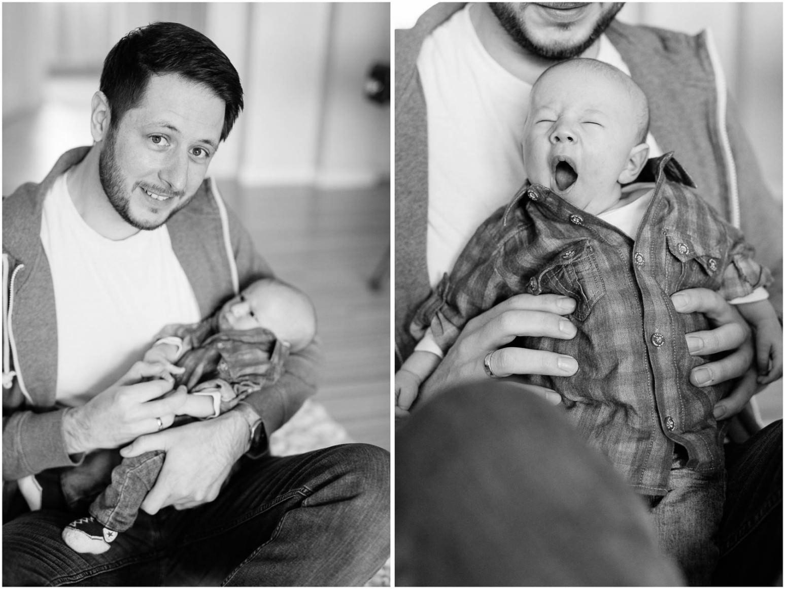 Entspannte Familienfotos in Schwarzweiss. Vater mit Sohn.