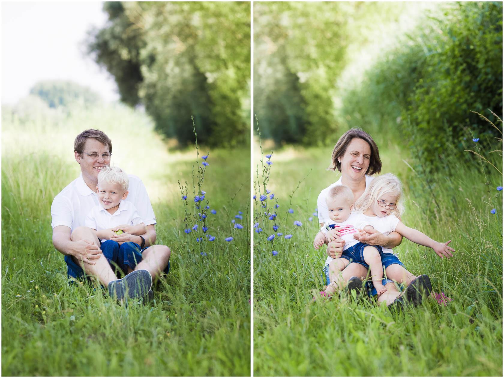 Familienfotos von Thea Philip Johannes Verena und Peter bei Speyer Familienfoto im hohen Gras